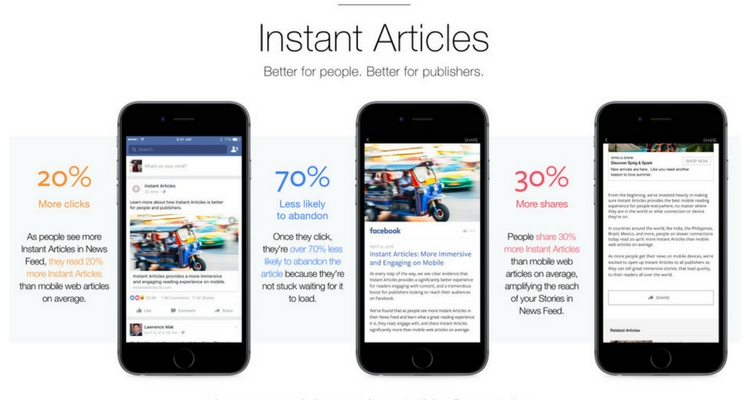 instant articles de facebook mobile